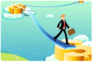 illustration of business man  on dollar way
